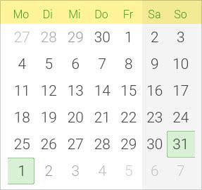 Kalender Pfingsten 2020