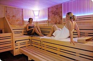Blick in die Salzstein-Sauna