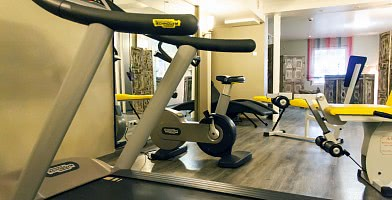 Der Fitnessraum mit TechnoGym-Geräten